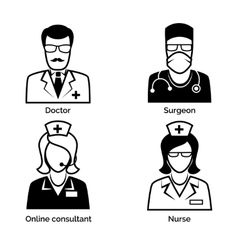 Medical staff icons Doctor nurse surgeon and vector image