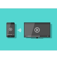 Mobile phone connected to TV streaming video vector image vector image