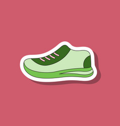 Paper sticker on stylish background sports shoes vector