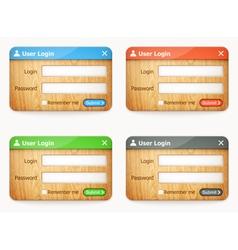 set of wooden login forms vector image