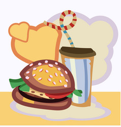 burger drink with vector image