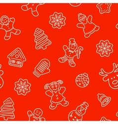 Christmas cookies flat line icons seamless pattern vector image vector image