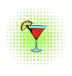 Martini glass with red cocktail icon comics style vector image vector image