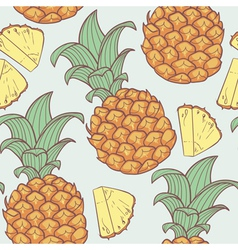 Pineapple with slice seamless pattern vector image vector image
