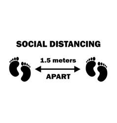 1256 social distancing two footprints 15 meters vector image