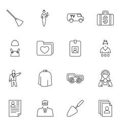 16 job icons vector image