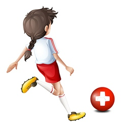 A female soccer player from Switzerland vector