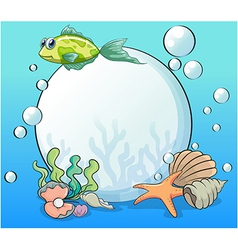 A pearl in the ocean surrounded by sea creatures vector