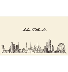 Abu Dhabi skyline vintage hand drawn vector