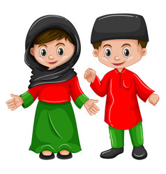 Afghanistan boy and girl in traditional costume vector
