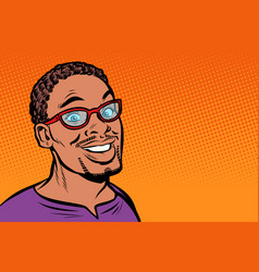 African man smiling hipster with glasses vector