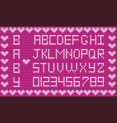 baby fabric script for girl cute knitted abc vector image