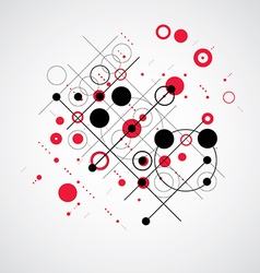 Bauhaus abstract red background made with grid and vector