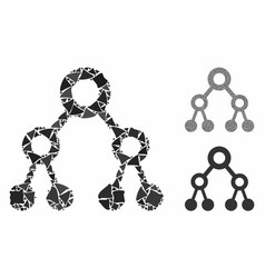 binary tree mosaic icon irregular elements vector image