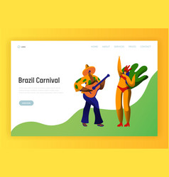 brazil carnival feast characters landing page vector image