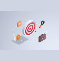 Business aim strategy arrow hitting precision vector