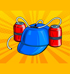 Cap with beer cans pop art vector