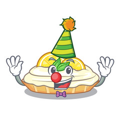 clown mascot delicious homemade lemon cake with vector image
