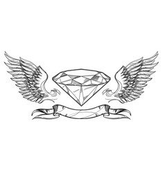contour image diamond wings and ribbon vector image