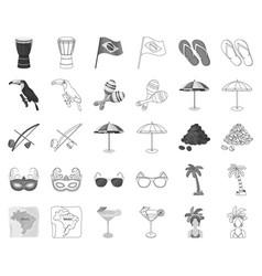 Country brazil monochromeoutline icons in set vector