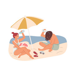 Couple resting under umbrella on beach in hot vector
