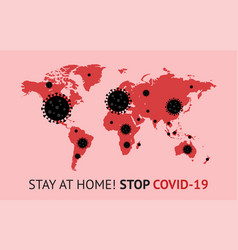 covid-19 concept red world map with black bacteria vector image