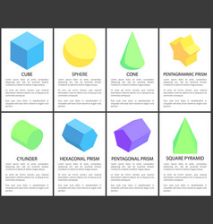 Cube and sphere posters set vector