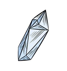 Cute cartoon quartz crystal doodle image media vector