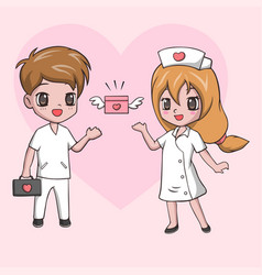Cute little girl and boy in medical uniform vector