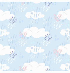 cute pattern with clouds and hearts on blue sky vector image