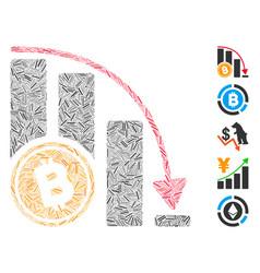 Dash mosaic bitcoin falling acceleration chart vector
