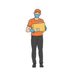 Delivery man in medical mask and gloves vector