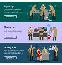 Detective Spy Horizontal Banners vector