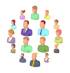 different people icons set cartoon style vector image