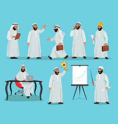 Different poses of arab businessman character vector
