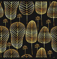 doodle seamless pattern with gold leaves on black vector image