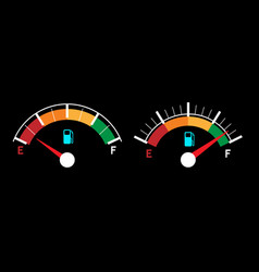 empty and fueled gas gauges vector image