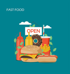 fast food flat style design vector image