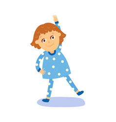 Flat girl kid making physical exercises vector