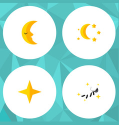 Flat icon night set of moon night bedtime and vector
