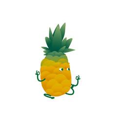 flat pineapple practice meditation or yoga vector image