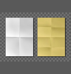 folded blank white yellow paper sheets vector image