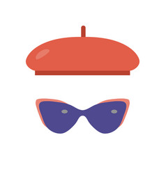 French beret and sunglasses icons vector
