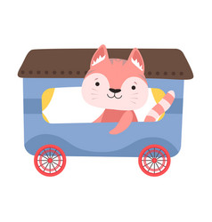 Funny cat with whiskers riding on carriage vector