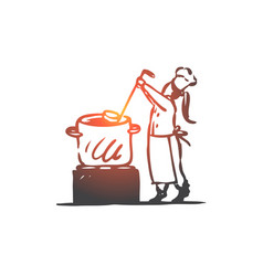 Girl cooking soup pan chef concept hand drawn vector