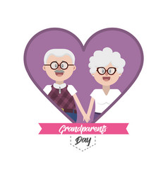 Grandparent together inside heart with ribbon vector