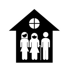 Grandparents couple with son in house silhouette vector