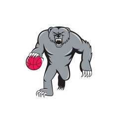 Grizzly Bear Angry Dribbling Basketball Isolated vector image