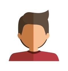 Half body boy half brunette and caucasian vector