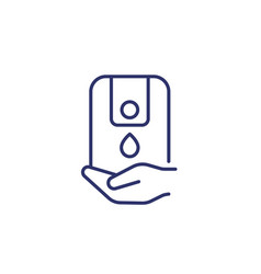 Hand sanitizer or antiseptic dispenser line icon vector